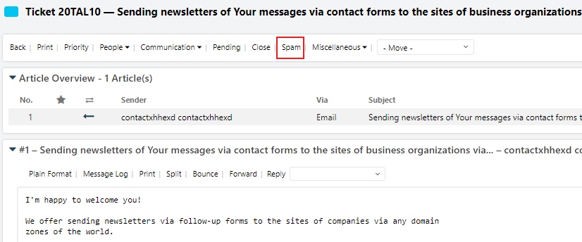 OTRS Spam-Button