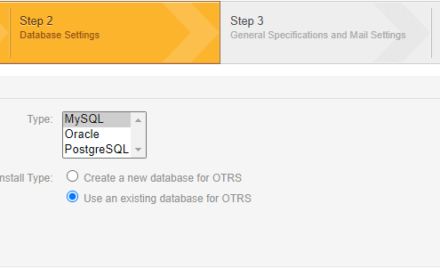 OTRS Installation Step 2 - 1